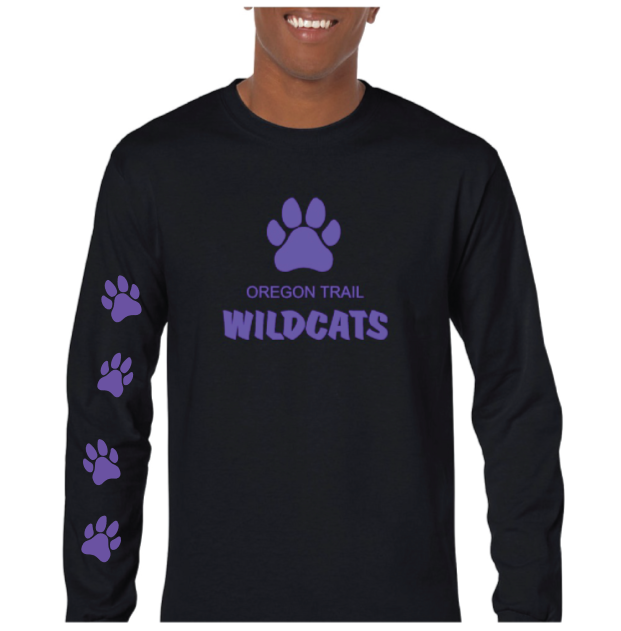 Adult Long Sleeve T-Shirt (Black) with Paw Prints