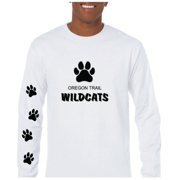 Adult Long Sleeve T-Shirt (White) with Paw Prints