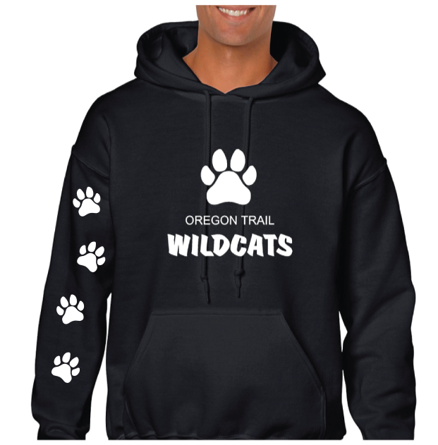 Adult Pull-Over Hoodie (Black) with Paw Prints