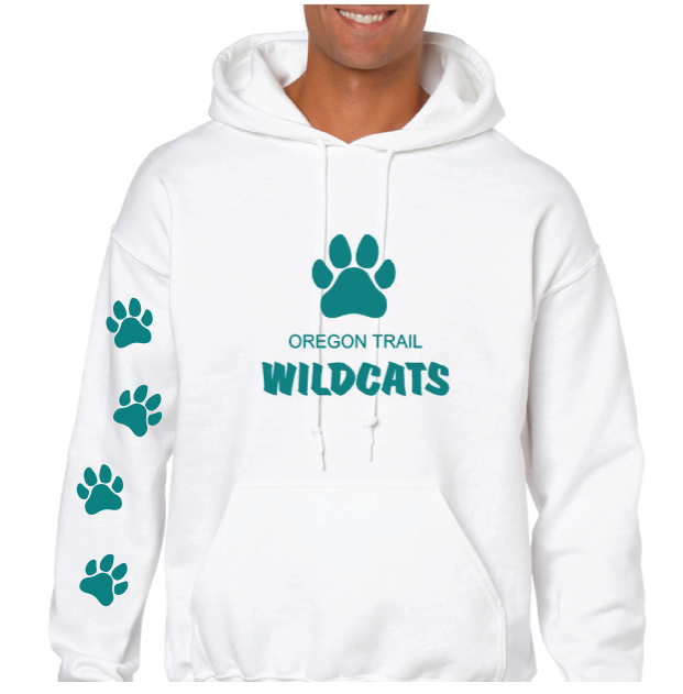 Adult Pull-Over Hoodie (White) with Paw Prints
