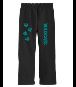 Adult Sweatpants (Black) with Paw Prints