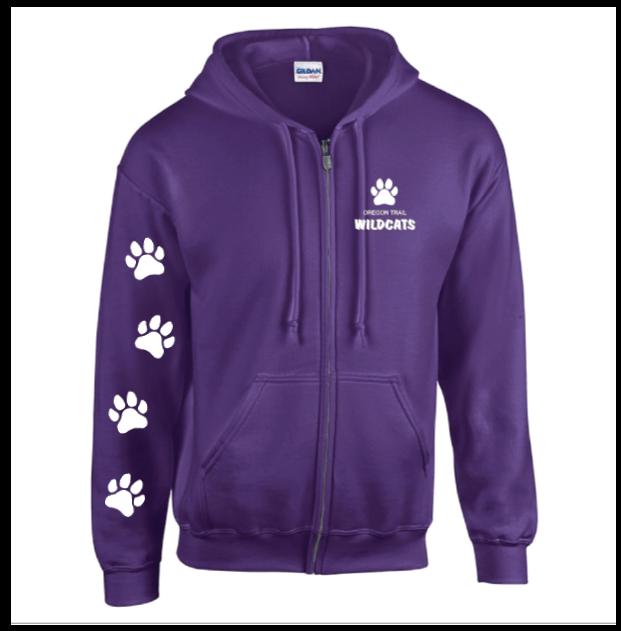 Adult Full-Zip Hoodie (Purple) with Paw Prints