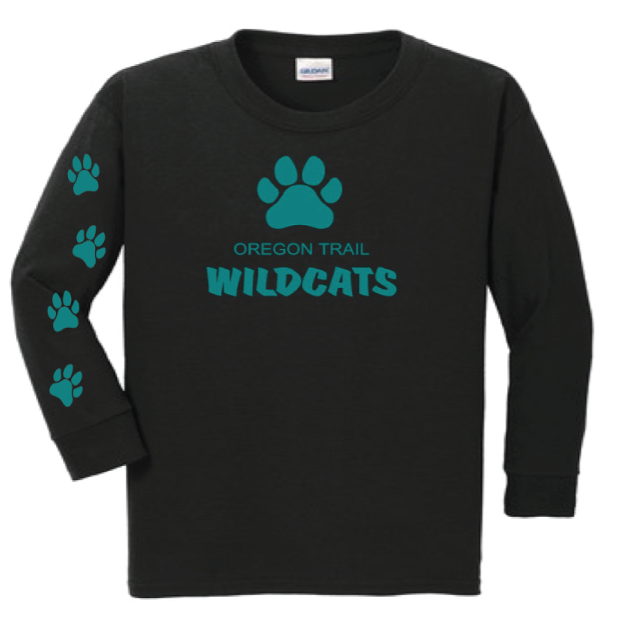 Youth Long Sleeve T-Shirt (Black) with Paw Prints
