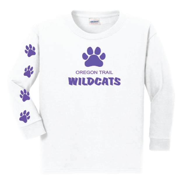 Youth Long Sleeve T-Shirt (White) with Paw Prints