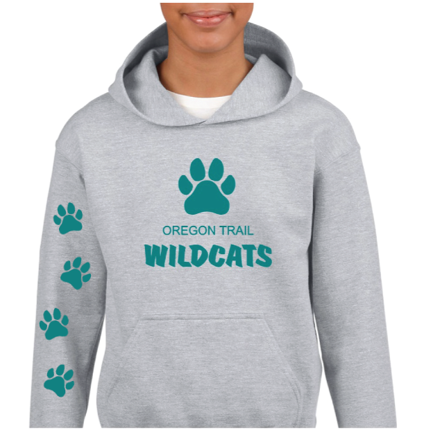 Youth Pull-Over Hoodie (Grey) with Paw Prints