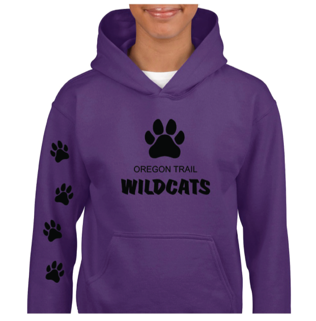 Youth Pull-Over Hoodie (Purple) with Paw Prints