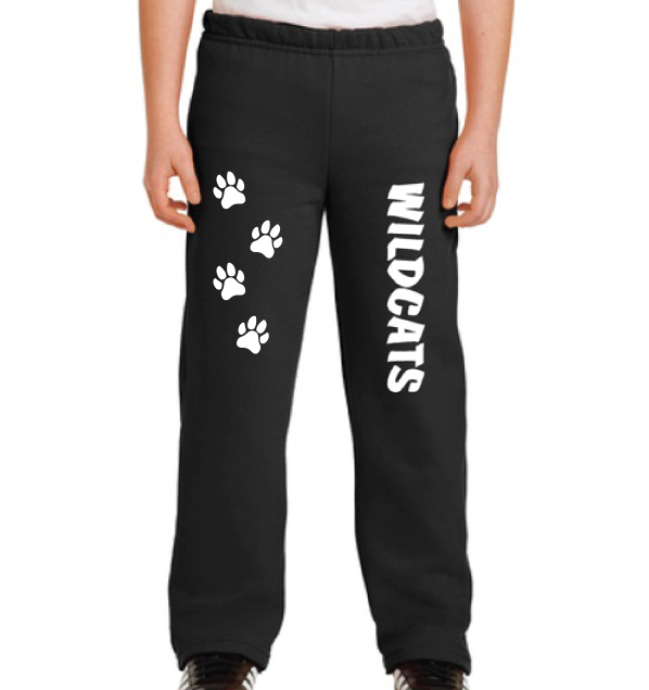 Youth Sweatpants (Black) with Paw Prints