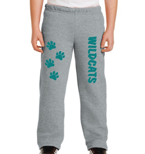 Youth Sweatpants (Grey) with Paw Prints