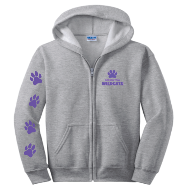 Youth Full-Zip Hoodie (Grey) with Paw Prints