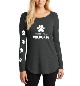 Ladies Long Sleeve T-Shirt (Frost Black) with Paw Prints