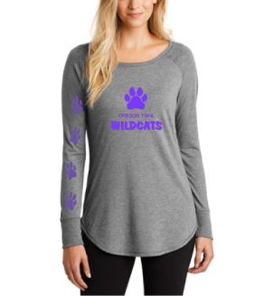 Ladies Long Sleeve T-Shirt (Grey) with Paw Prints