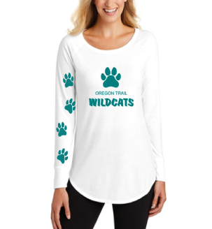 Ladies Long Sleeve T-Shirt (White) with Paw Prints